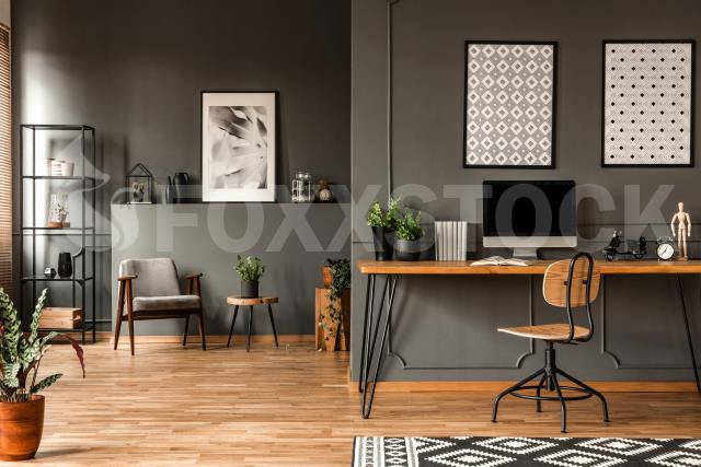 Grey Home Office Interior