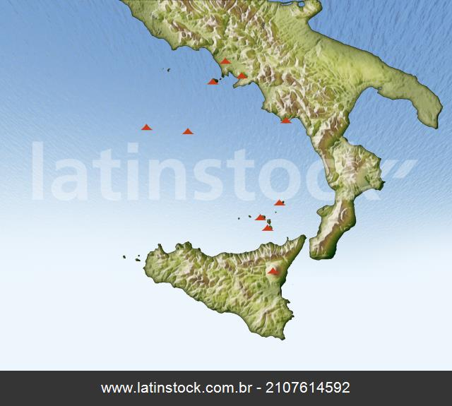 Volcanoes In Italy Illustrated Map North Is Latinstock