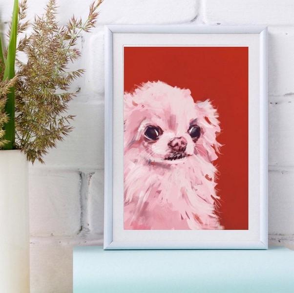 Chihuahua Small Dog Pink Canvas Poster Wall Art Home Decor Unisex Tshirt