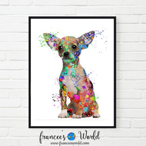 Chihuahua Watercolor Canvas Poster Wall Art Home Decor Unisex Tshirt