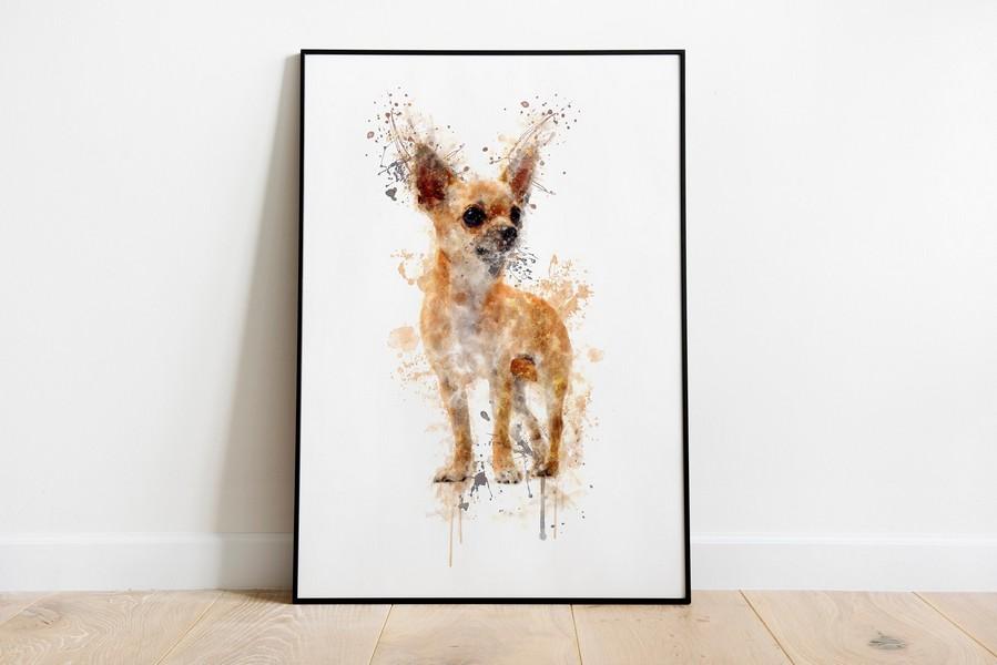 Chihuahua Watercolour Splash Canvas Poster Wall Art Home Decor Unisex Tshirt