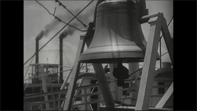 1940s: Large bell ringing as steamboats passing