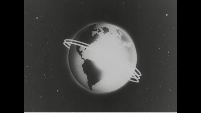 1960s: Animation of spacecraft orbiting Earth. Scott Carpenter in spacecraft. Hands on controls. Animation, spacecraft circling globe. Engines firing on spacecraft.