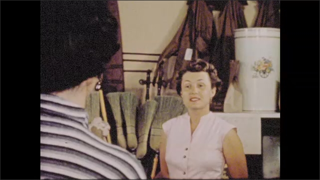 1950s: Narrator explains how newcomer to trailer village is welcomed by locals.