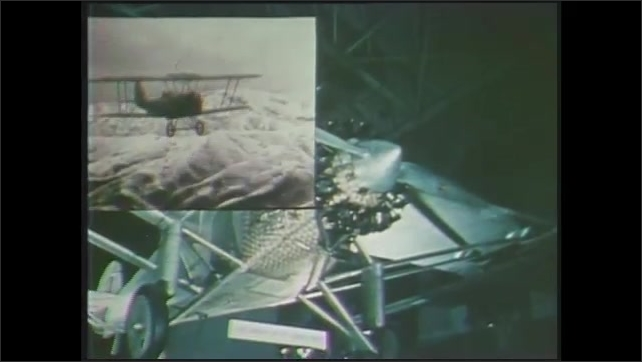 1970s: Picture-in-picture, footage over shots of plane in hangar, man hanging from plane. Close ups of man. Aerial view of buildings. Plane flying. Charles Lindbergh. Plane taking off.