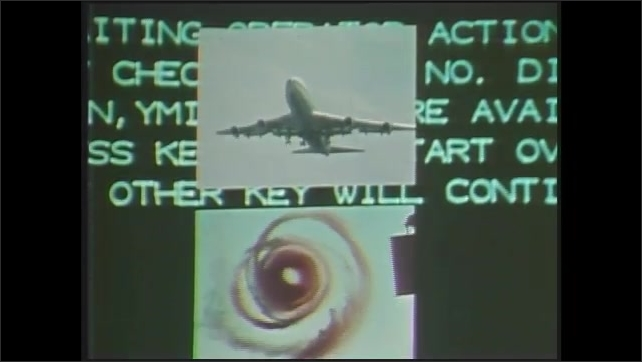 1970s: Picture-in-picture, text on computer screen, views of planes. Plane models. Drawings of planes.