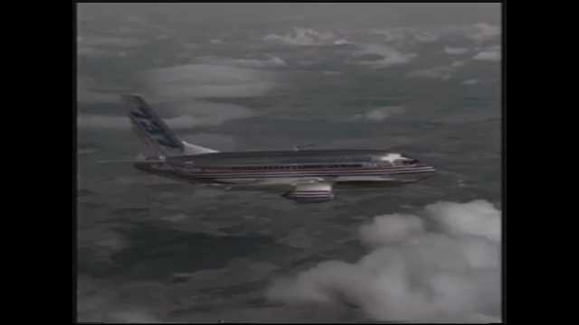 1990s: Clouds, sky, commercial plane flies, turns. Runway, plane takes off.