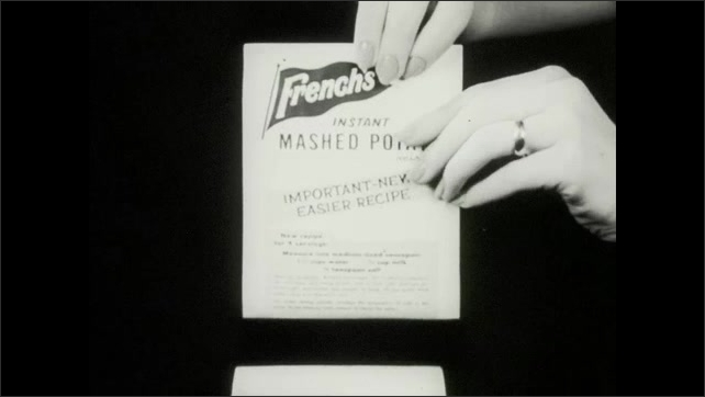 1960s: Bag of potatoes spills. Potato. Potato on cover of box. Person pours packet of potatoes in pot, whisks mashed potatoes, steam rises from mashed potatoes on plate. Box of mashed potatoes.