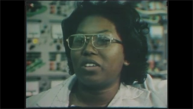 1970s: Shirley Chevalier, Electrical Engineer is interviewed in front of lab equipment.