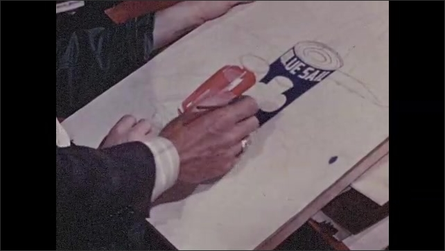1950s: Woman sits at table, draws figure. Man instructs man on drawing. Man trains man to operate machine.