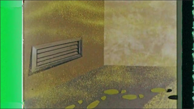 1960s: Animation.  Mop spreads green liquid over floor.  Footprints appear.  Lines flow into air vent and out of system.  Frame of building.
