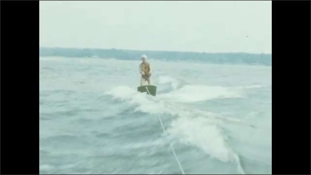 1950s, color, home, movie, ephemera, family, memories, nostalgia, vintage, family, woman, life, jacket, preserver, wakeboard, wave, lake, water, tow, rope, boat