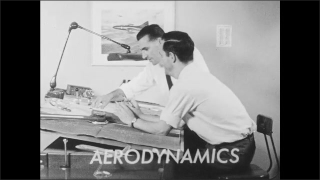 1960s: Wright Brothers pictured with airplane. Two engineers at work on drafting table.