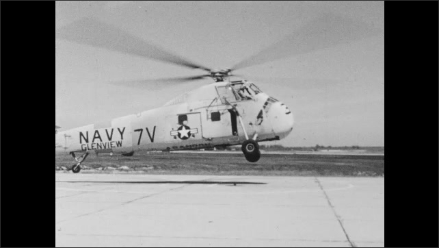 1960s: Blade on helicopter. Blades on helicopter spin and it lifts from ground. Animated diagram of helicopter in flight and airflow.