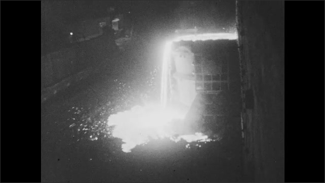 1960s: Shots of machinery in steel mill. Molten steel pouring. Zoom in on newspaper. Man working in lab.