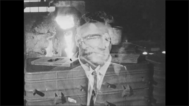 1960s: Machinery in factory, shots of men superimposed over image. Men talking at desk in office.
