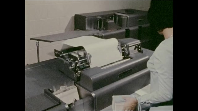 1970s: Woman places stack of cards in processing machine then scrolls through paper out of printer on top of machine. Dot matrix printer. Woman on word processor. Printer.