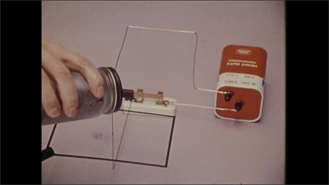 1970s: Hand adjust knob on small television. Volt battery hooked up to a switch. Hand lowers switch. Hand shakes out iron filings. Filings vibrate into a pattern.