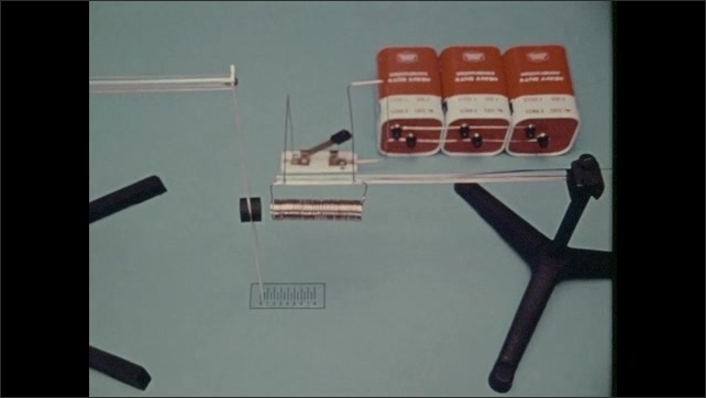 1970s: Magnet hangs next to coil and moves needle on scale. Hand lifts switch disconnecting circuit of batteries and coil. Metal rod is inserted in coil and the switch is turned on.