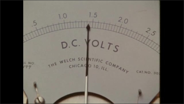 1970s: Three batteries hooked up to coil and rod. DC voltage needle on meter. Needle moves on scale.