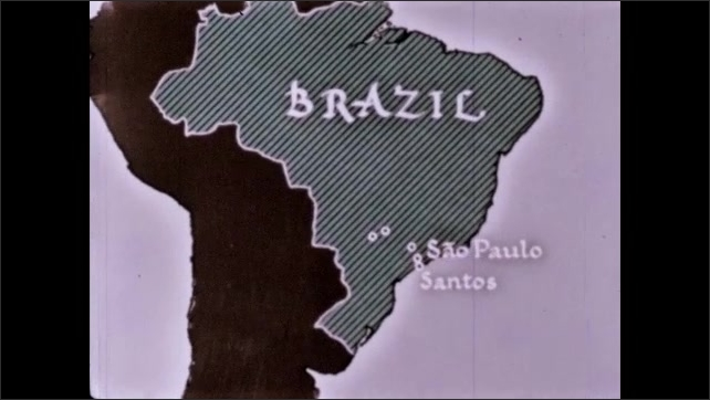 1960s: Man tosses coffee beans on screen in field. Santos and San Paulo are highlighted on map of Brazil. Men move boxes and barrels on dock. Men unload sacks from trucks on boat docks.