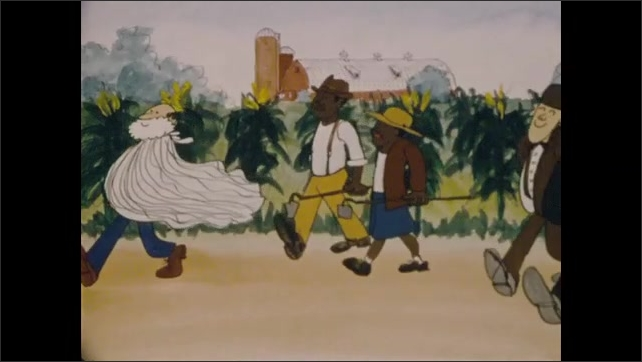 1970s: Animation.  Train.  Group of musicians play.  Benjamin Franklin holds kite string.  Woman roller skates.  Cowboy.  Parade marches.  Tarzan swings on vine in city.