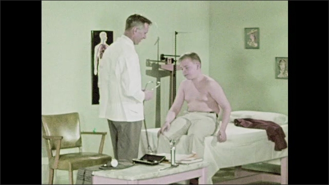 1950s: Doctor checks patient's pulse. Doctor picks up stethoscope and touches patient's chest. Doctor listens to heart with stethoscope.