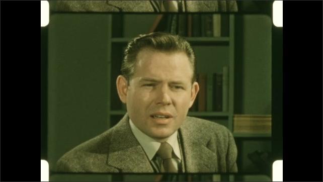 1950s: Boy speaks and gestures. Man speaks.
