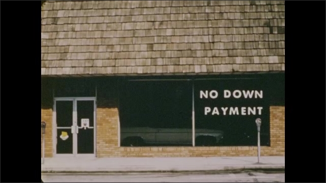 1970s: Still images of different storefronts, woman driving taxi on city street, man in red shirt, man working on car.