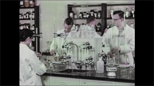 1950s: Ocean waves. People work in lab.