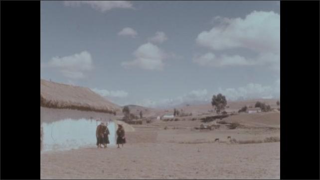 1950s: People harvest potatoes in the field. Women stand outside, kick dirt. Boy walks down road.