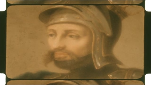 1950s: Steps leading up the chair inside building. Painted portrait of man in helmet. Painted portrait of man in armor.