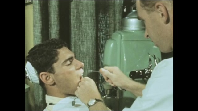 1950s: Students gather papers and books at desks in classroom. Dentist works on patient in dental office. Patient spits into sink near chair at dental office.