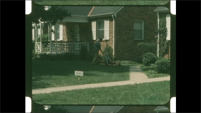 1960s: Shots of man mowing lawn.
