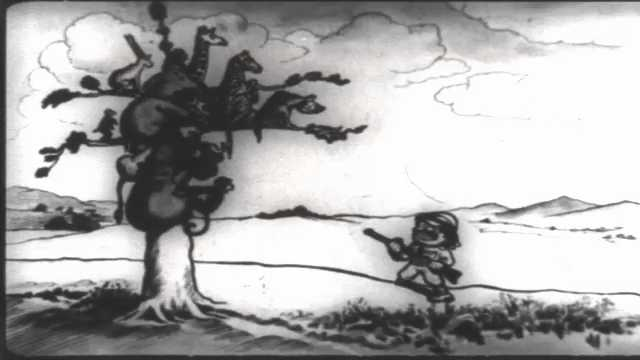 1910s: Cartoon animals and monkey climb tree to avoid Teddy Roosevelt with rifle. Soldiers on horseback and in horse-drawn wagons march in parade. Soldiers with rifles march in parade.