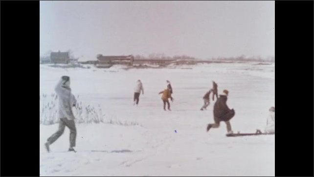 1960s: People swimming in pond. People ice skate on frozen over pond in winter.