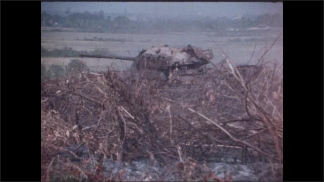 1960s Vietnam: Tank.  Explosion.  Smoke.