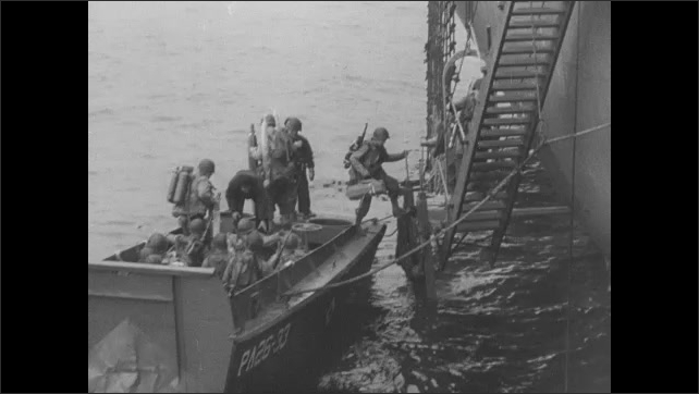 1940s: Men ride shuttle boats to large transport ships. Soldiers board ships.