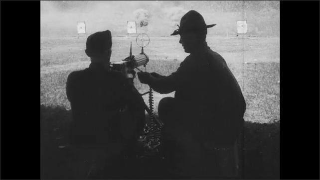 1910s France: Man practices firing weapon at range.  Instructor assists.  Men sit.  Men work on model planes.