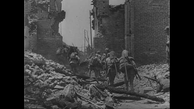 1940s China: Soldiers walk through rubble of city. Map of China. City of Shanghai. Boats travel across sea, come and go from ports of Shanghai. Plane flies over pagoda.