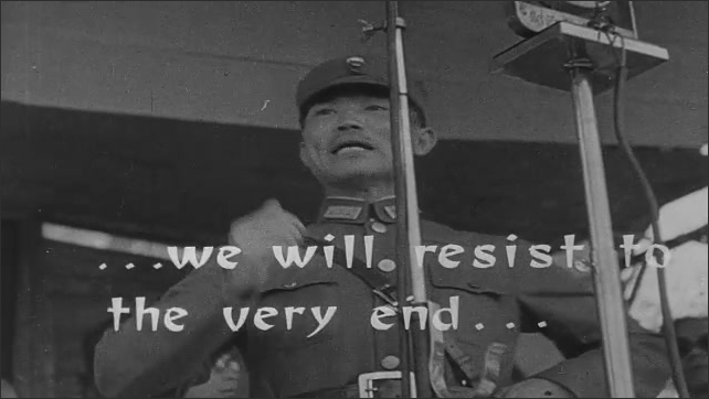 1940s China: Chinese politicians and military officers give speeches to large crowds. Chinese people cheer. Men gather around table.