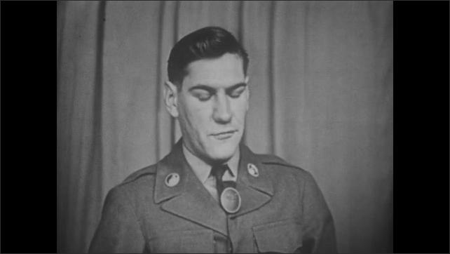 1940s: Soldiers operate broadcast recording equipment. Soldier speaks on studio set. Hands raise site on machine gun.