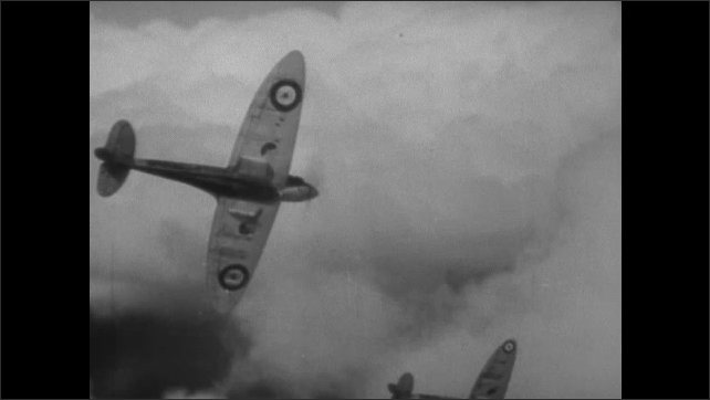 1940s ENGLAND: Fighter jets take off. Fighter jets fly in formation. Jet dives. Jets fire upon each other.