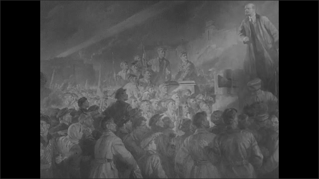 1910s: Soldiers march down street in parade. Intertitle. Painting of Lenin addressing crowd of people. Handwriting on paper.