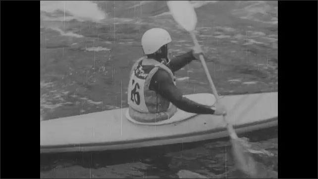 1960s: Reports photograph baseball players as they exit field. Crowd cheers in stadium. Baseball player smiles in dugout. Text placard. Men kayak down river slalom course.