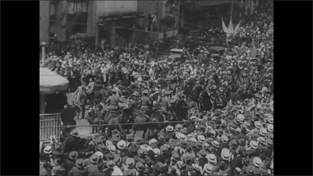 1940s: Franklin D. Roosevelt rides in car in parade. Assembly of politicians, ambassadors.