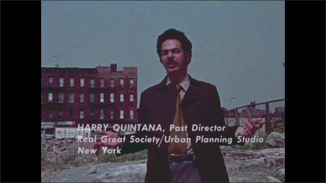 1970s: Man sits in office, talks. Man stands outside in front of run down building, talks.