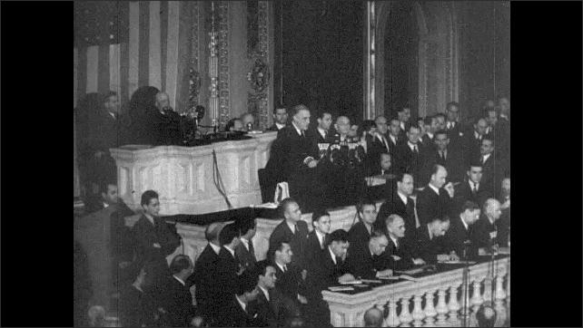 1940s: President Franklin D. Roosevelt gives speech to congress.