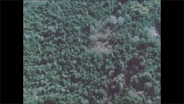 1960s: Flying over ground marked with holes from explosions. Looking down on jungle from sky above.