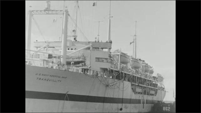 1940s: Hospital ship at sea.